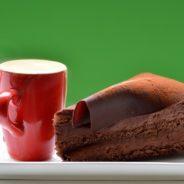 Milchkaffee und Schokoladentorte